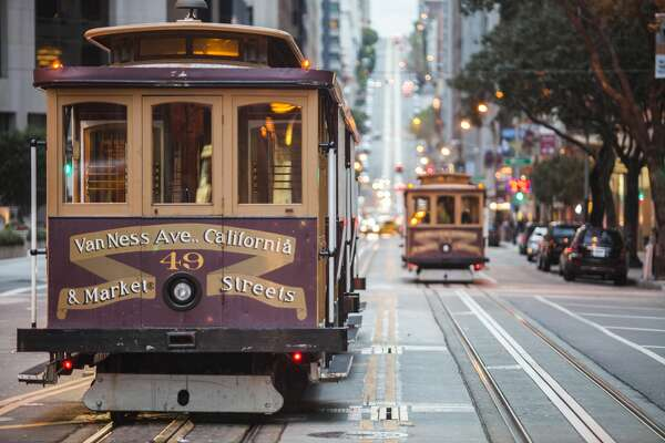 A cable car in San Francisco.