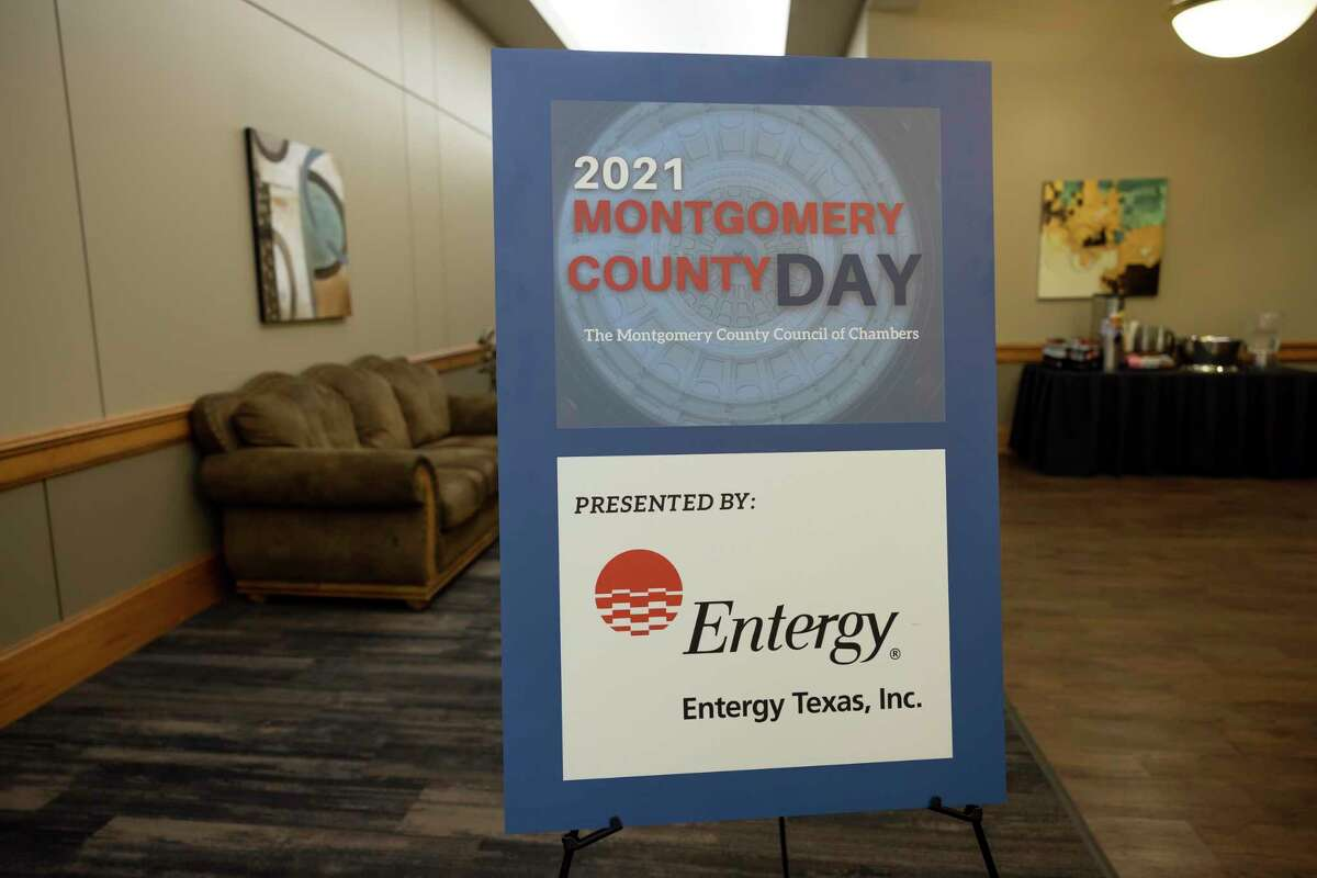 As seen, signage is placed outside the San Jacinto room during Montgomery County Day at Lone Star Convention Center, Tuesday, March 2, 2021, in Conroe. Typically a group of leaders from Conroe would go to the capitol in Austin for Montgomery County Day but due to the ongoing pandemic the event was held in a hybrid style.