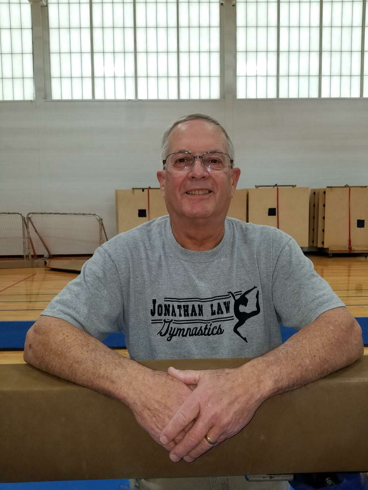 Pat Simon has guided Jonathan Law gymnastics since the program began in 1978.