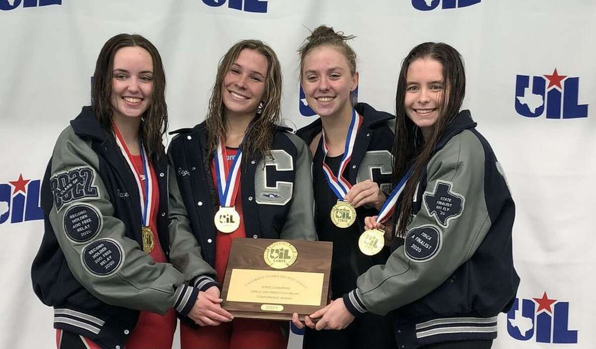 Boerne Champion captured the UIL girls 200 freestyle relay Tuesday, March 2, 2021 at Bill Walker Pool. The Chargers from left to right are Paige Clark, Regan Garcia, Tess Ziemba and Peyton Brehmer.