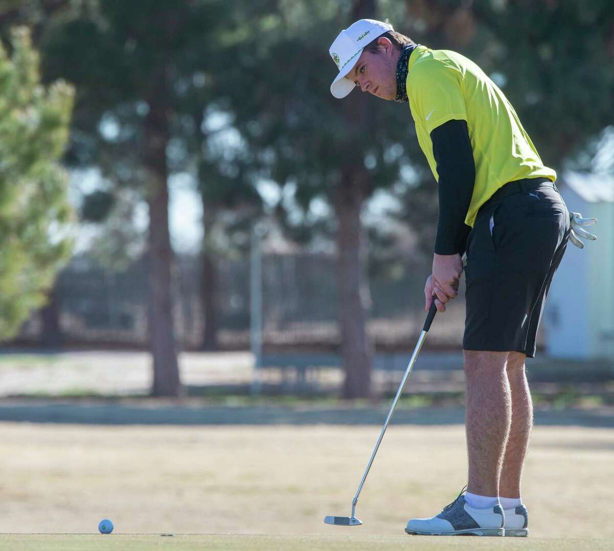 Midland College's Samual McKenzie follows his putt 03/03/2021 during the second day of play in the TankLogix Intercollegiate Golf Tournament at Ranchland Hills Golf Club. Tim Fischer/Reporter-Telegram