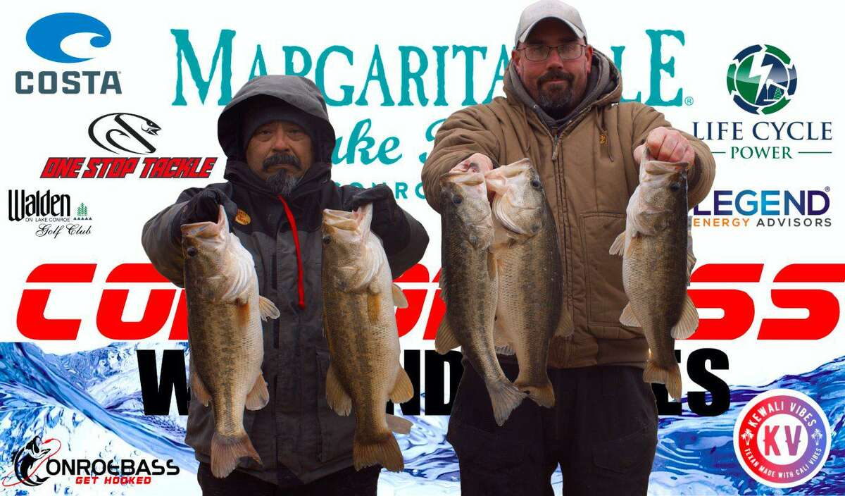 Juan Monroy and Garrett Pierce came in first place in the CONROEBASS Weekend Series Tournament with a stringer weight of 22.63 pounds.
