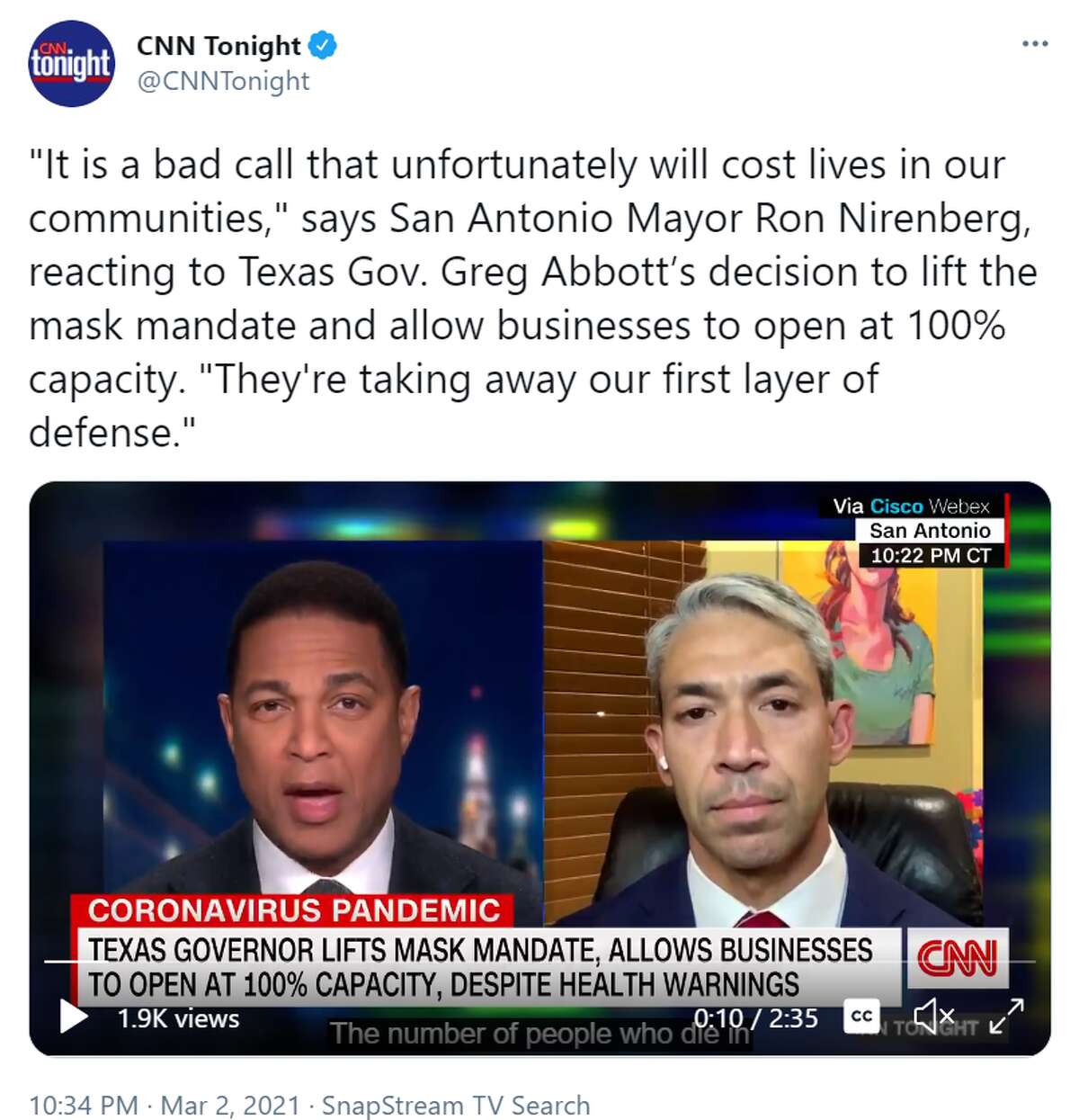 San Antonio Mayor Ron Nirenberg shared a grim outlook for the state with CNN's Don Lemon Tuesday evening in response to Gov. Greg Abbott's controversial ruling to fully reopen Texas and end the mask mandate.