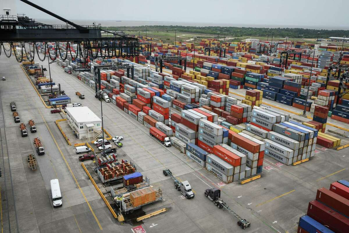 Shipping containers sit stacked at the Port of Houston Bayport Container Terminal in Pasadena. The Greater Houston Port Bureau meeting will discuss the expansion of the Ship Channel at a meeting Thursday.