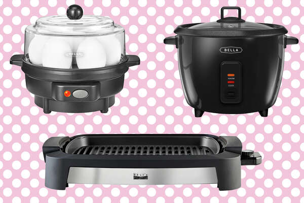 Egg Cooker from Bella for $7.99, 16-cup rice cooker for $14.99, Bella'sPro Series Indoor Smokeless Grill for $29.99.