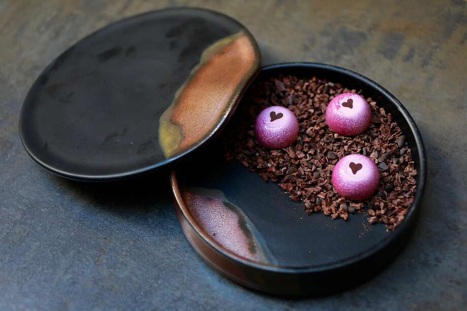Candy Boxes, made by ceramist Erin Hupp, are filled with rose truffles and cocoa nibs at Nightbird restaurant in S.F. Photo: Gabrielle Lurie / The Chronicle