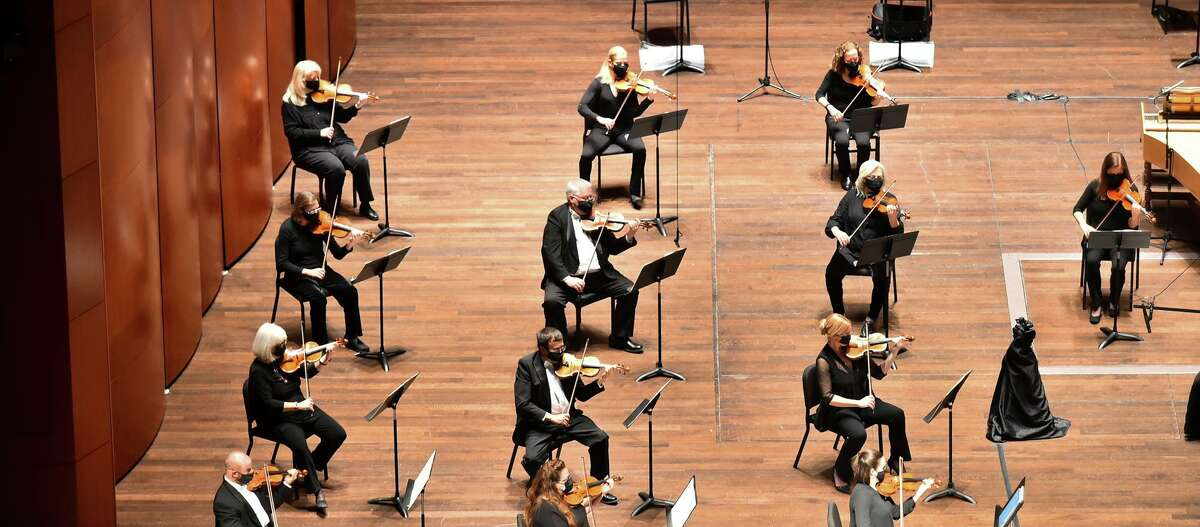 Members of the San Antonio Symphony resumed in-person performances in February at the Tobin Center for the Performing Arts.
