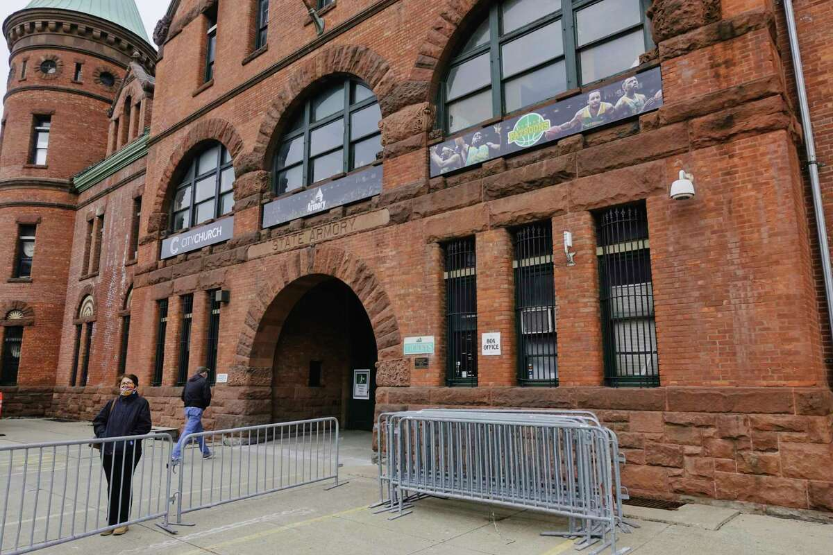 The FEMA-run Covid-19 mass vaccination site at the Washington Avenue Armory opened for the first time on Wednesday, March 3, 2021, in Albany, N.Y. On May 5, it will begin giving out one-dose vaccines on a walk-in basis. (Paul Buckowski/Times Union)