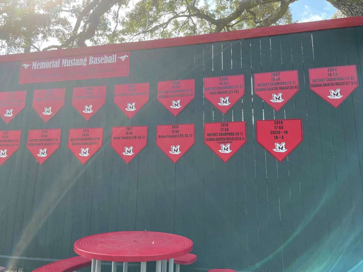 There is a wall of plaques behind the third base bleachers at the Memorial Mustangs' baseball stadium that recognizes and celebrates the program's tradition of success