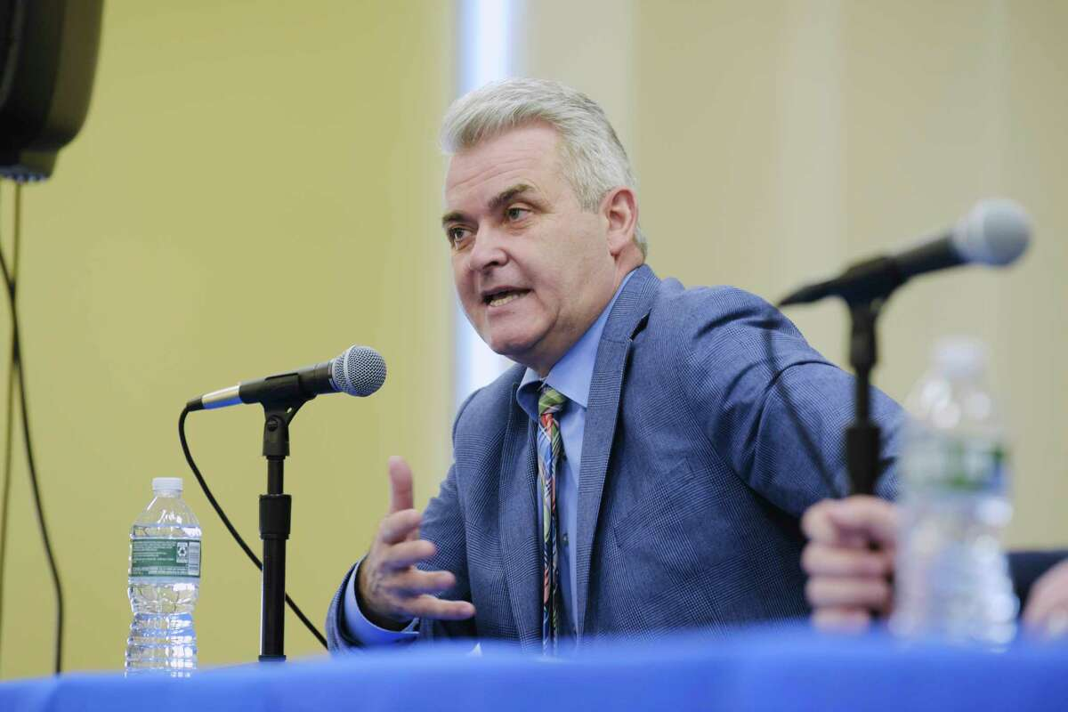 Rensselaer County Executive Steve McLaughlin talks about Covid-19 vaccinations during a press conference on Wednesday, March 3, 2021, in Albany, N.Y. Twitter briefly banned McLaughlin Sept. 12, 2021. (Paul Buckowski/Times Union)