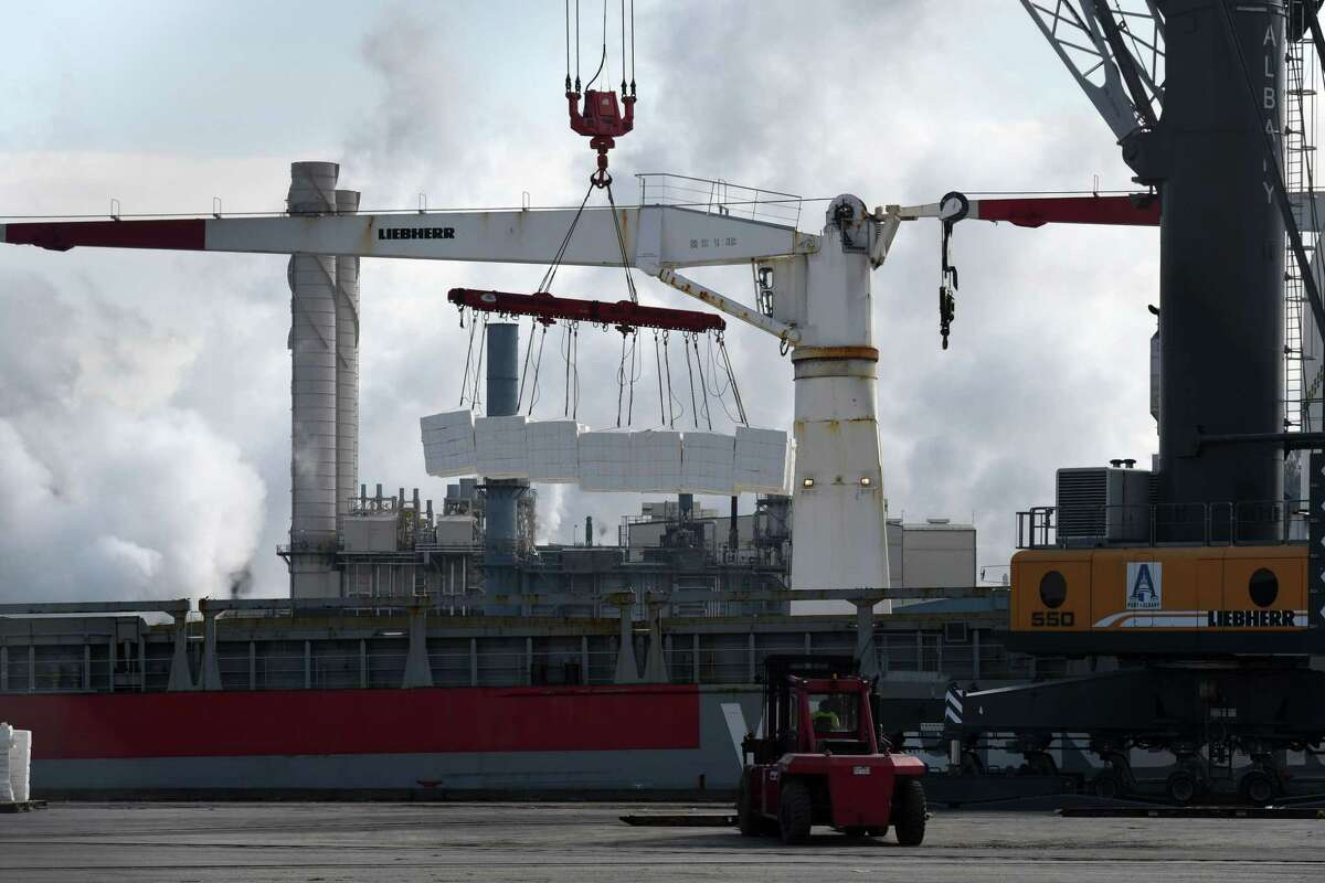 Cargo is unloaded from a vessel at the Port of Albany on Wednesday March 3, 2021, in Albany N.Y. (Will Waldron/Times Union)