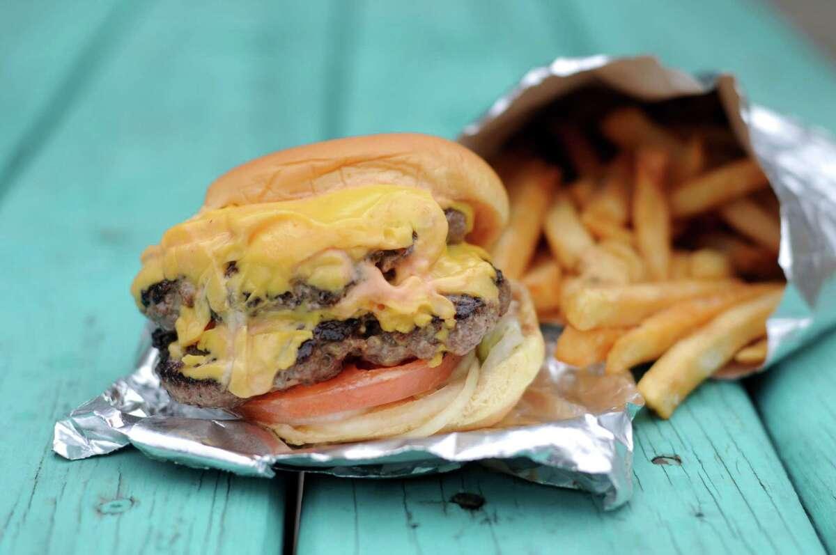 The Double Double Dubs burger from J'Dubs Burgers & Grub