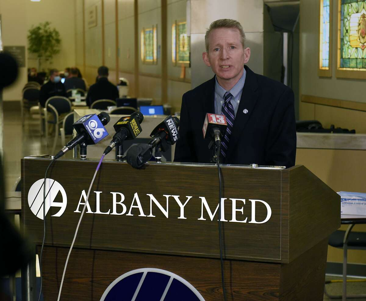 Dr. Dennis McKenna, President and CEO of Albany Medical Center, speaks to the media before his staff administers the first doses of Pfizer-BioNTech COVID-19 vaccine to the hospital's health care workers at Albany Medical Center on Monday, Dec. 14, 2020 in Albany, N.Y. (Lori Van Buren/Times Union)