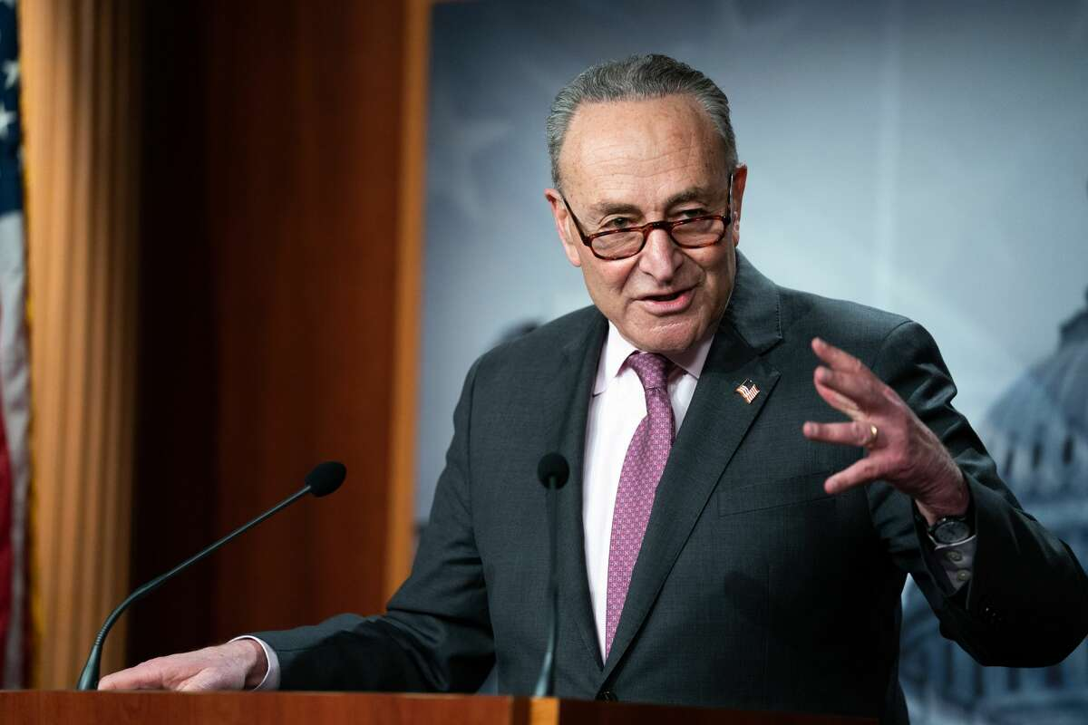 Senate Minority Leader Sen. Chuck Schumer (D-N.Y.) addresses a news conference following a virtual meeting with Senate Democrats at the Capitol in Washington on March 2, 2021. (Anna Moneymaker/The New York Times)