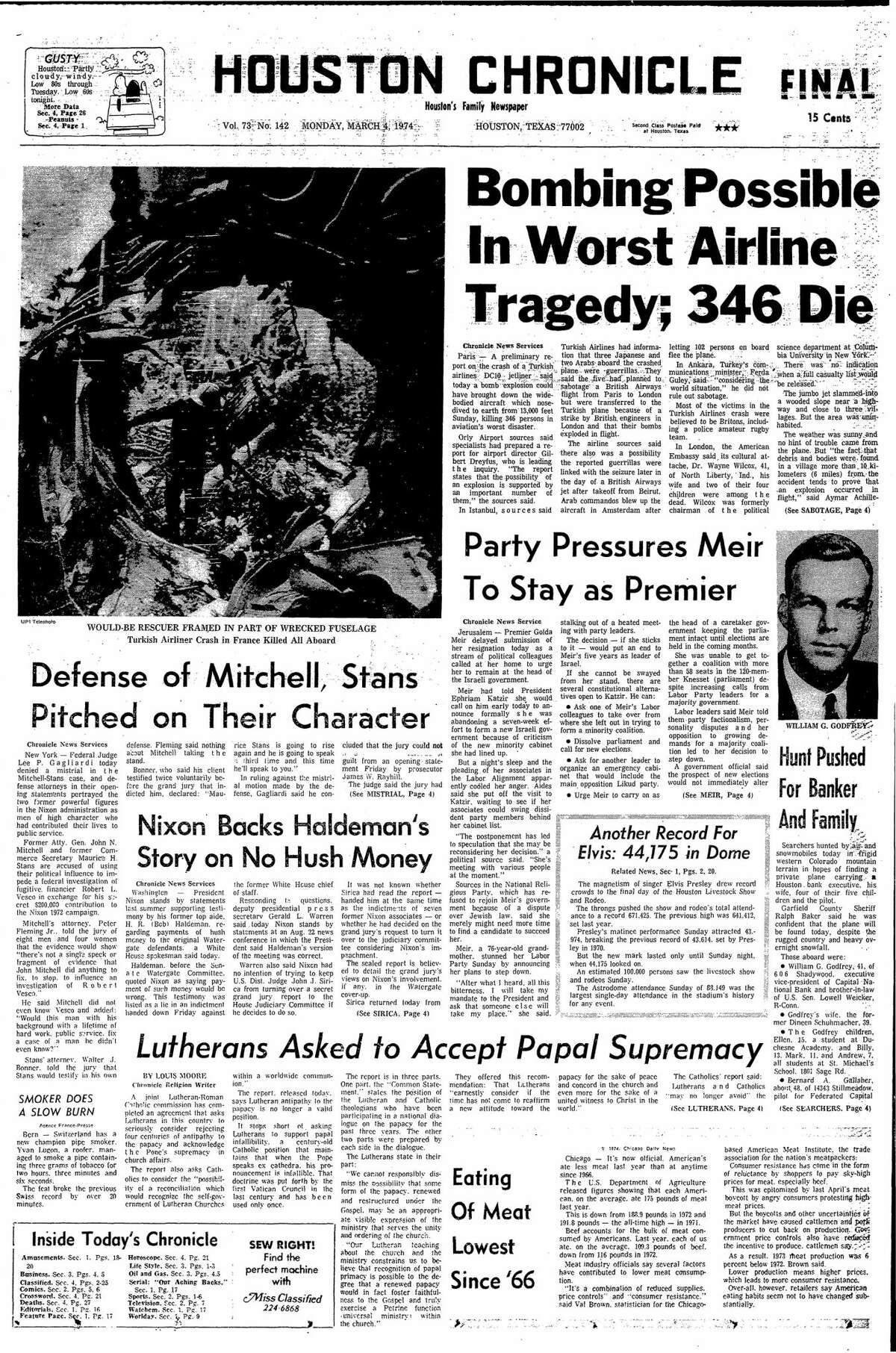 Houston Chronicle front page from March 4, 1974.