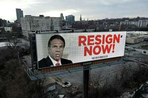 """A billboard posted along I-787 calls for Gov. Andrew Cuomo to resign on Wednesday March 3, 2021, on Water Street at North Ferry in Albany N.Y. Gov. Cuomo on Wednesday apologized to the women he """"offended,"""" defended his actions as inadvertently making women uncomfortable and said he would not resign. (Will Waldron/Times Union)"""