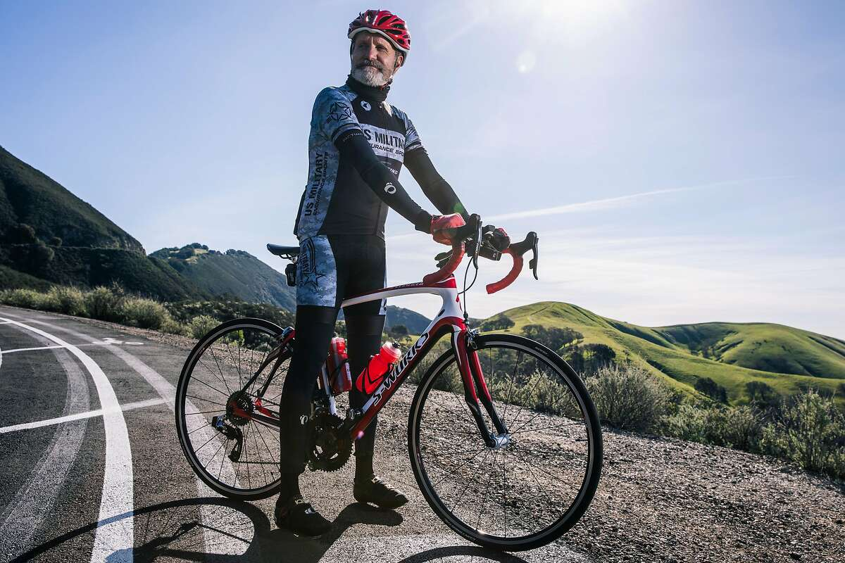 Retired Army Col. Alan Kalin, president of Mount Diablo Cyclists, by a bicycle turnout on Mount Diablo on Sunday.