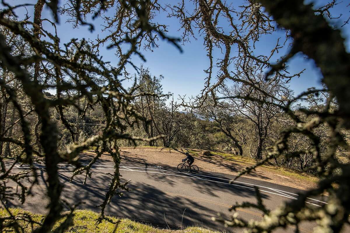 A bicyclist ascends toward the peak of Mount Diablo while riding in a turnout, one of 17 installed around the often narrow and popular cycling route up the mountain.