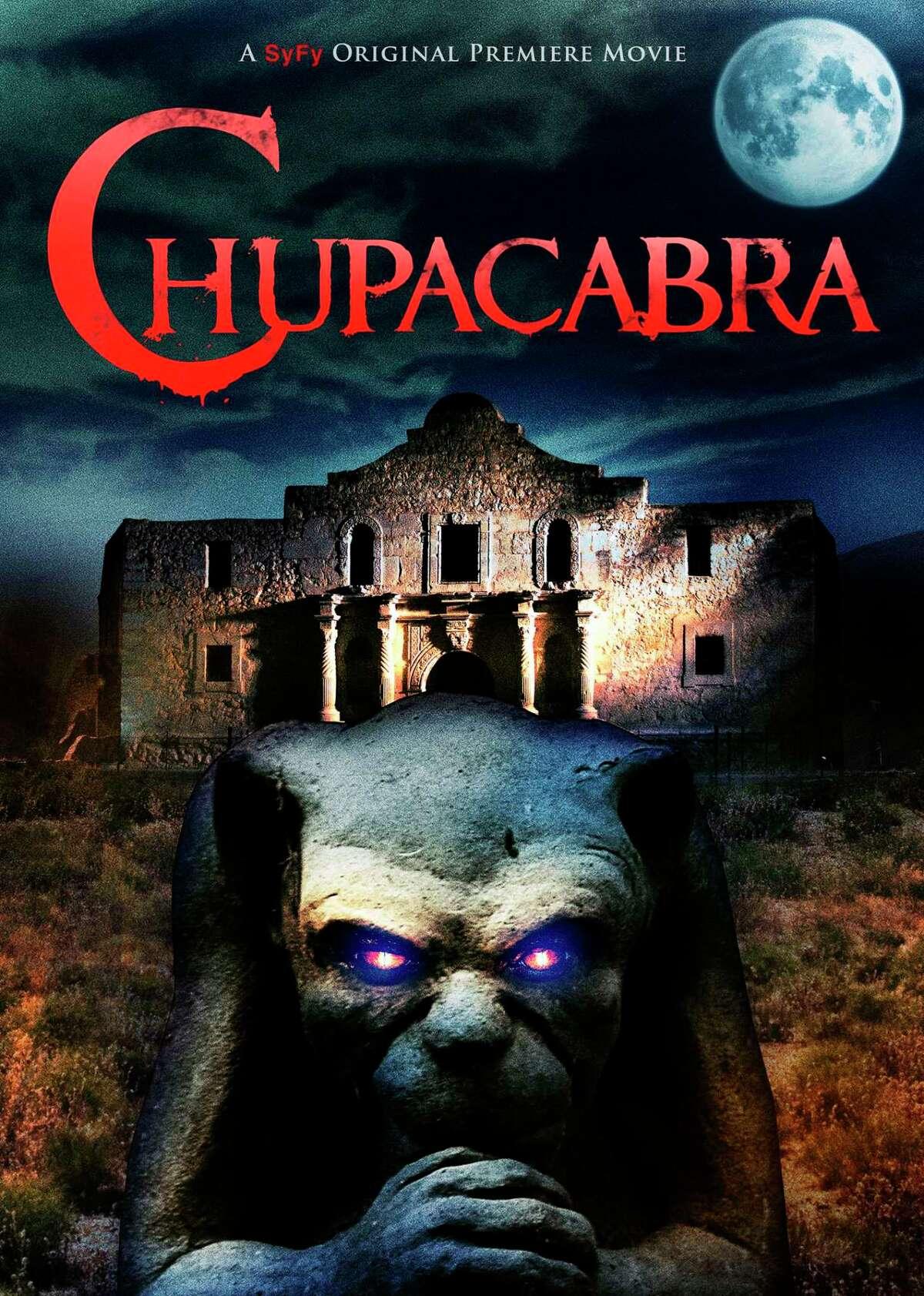 "Movie poster of ""Chupacabra vs. the Alamo"" starring Erik Estrada."