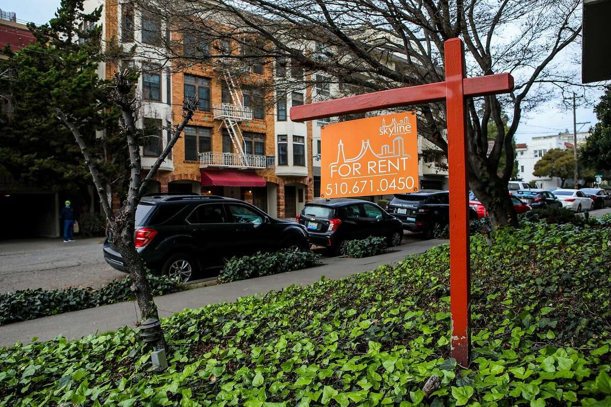 Lakeshore Park Apartments advertise a for rent sign on their property at 420 Perkins St. in the Adams Point neighborhood on Tuesday, January 12, 2021, in Oakland, Calif.
