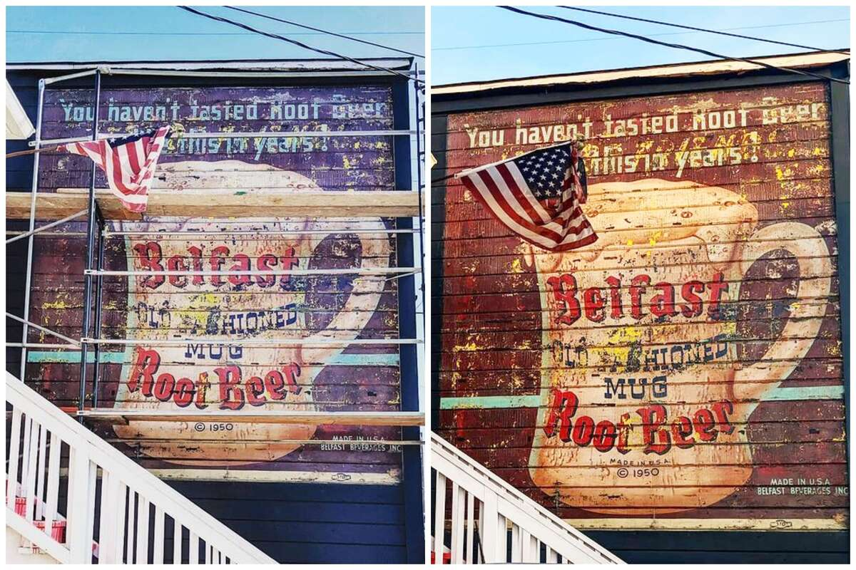 At left, the remains of an ad for Belfast Old Fashioned Mug Root Beer near the Fruitvale BART station, after it was uncovered in 2019. At right is the sign after it was restored, from Kasey Smith's Instagram.