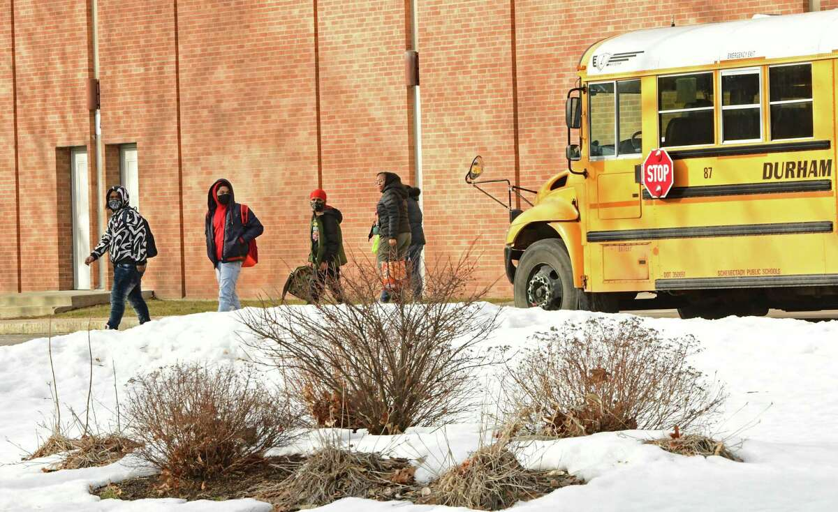Students are seen leaving Schenectady High School as the school dismisses for the day on Wednesday, March 3, 2021 in Schenectady, N.Y. (Lori Van Buren/Times Union)