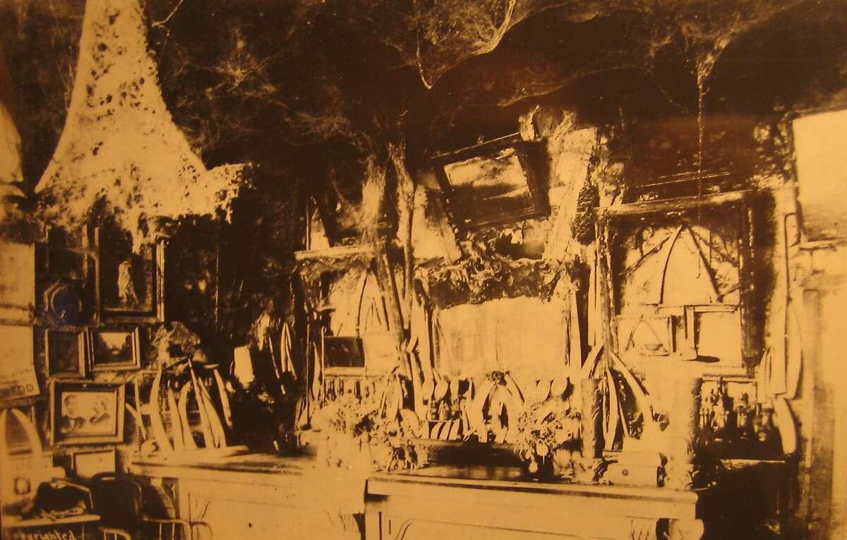 Abe Warner's Cobweb Palace, a North Beach tavern of the 19th century, with its namesake cobwebs visible.