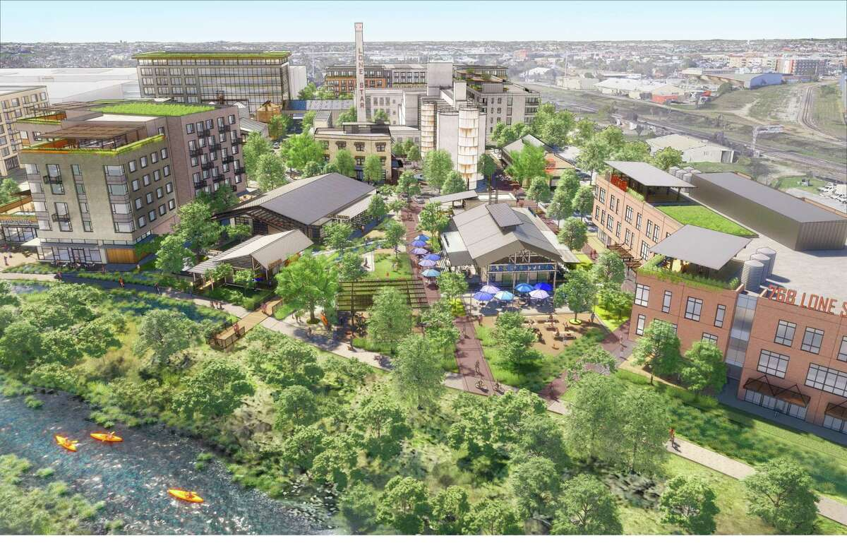 This rendering shows the mixed-use development that Houston-based Midway and local GrayStreet Partners envision for the former Lone Star Brewery site.