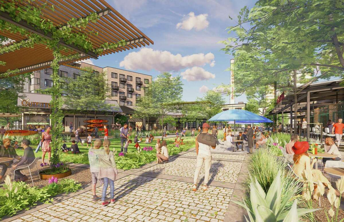 Renderings of the Lone Star District, a mixed-use development planned at the former Lone Star Brewery site.