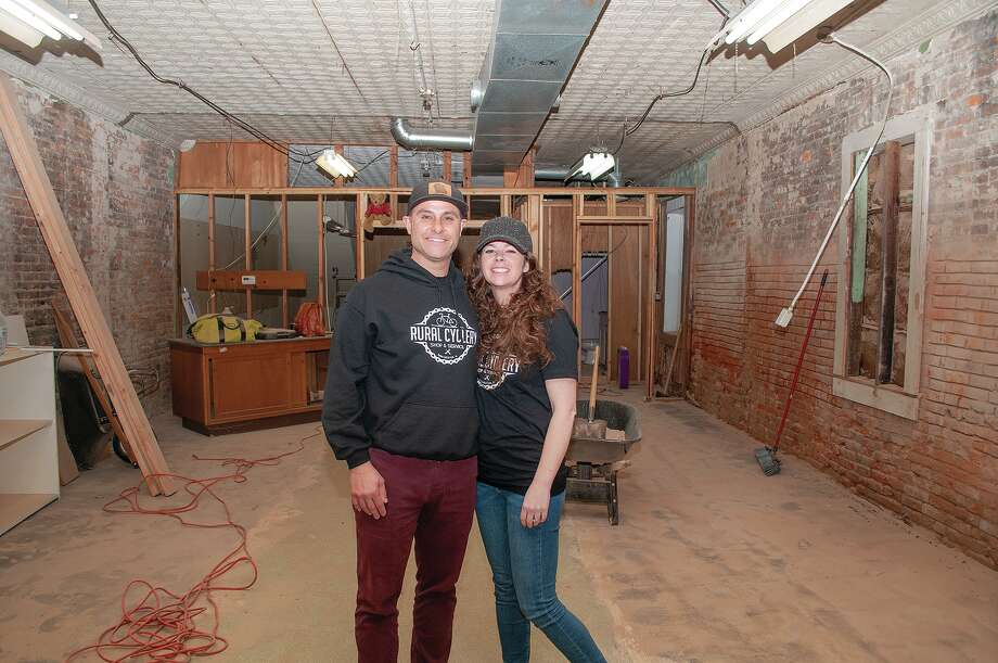 Colin and Jackie Kuche are renovating the building at 21 S. Main St. in downtown Winchester. Their business, Rural Cyclery Shop and Service, will be a combination of a coffee bar and a cycling shop. Photo: Darren Iozia   Journal-Courier / Jacksonville Journal-Courier