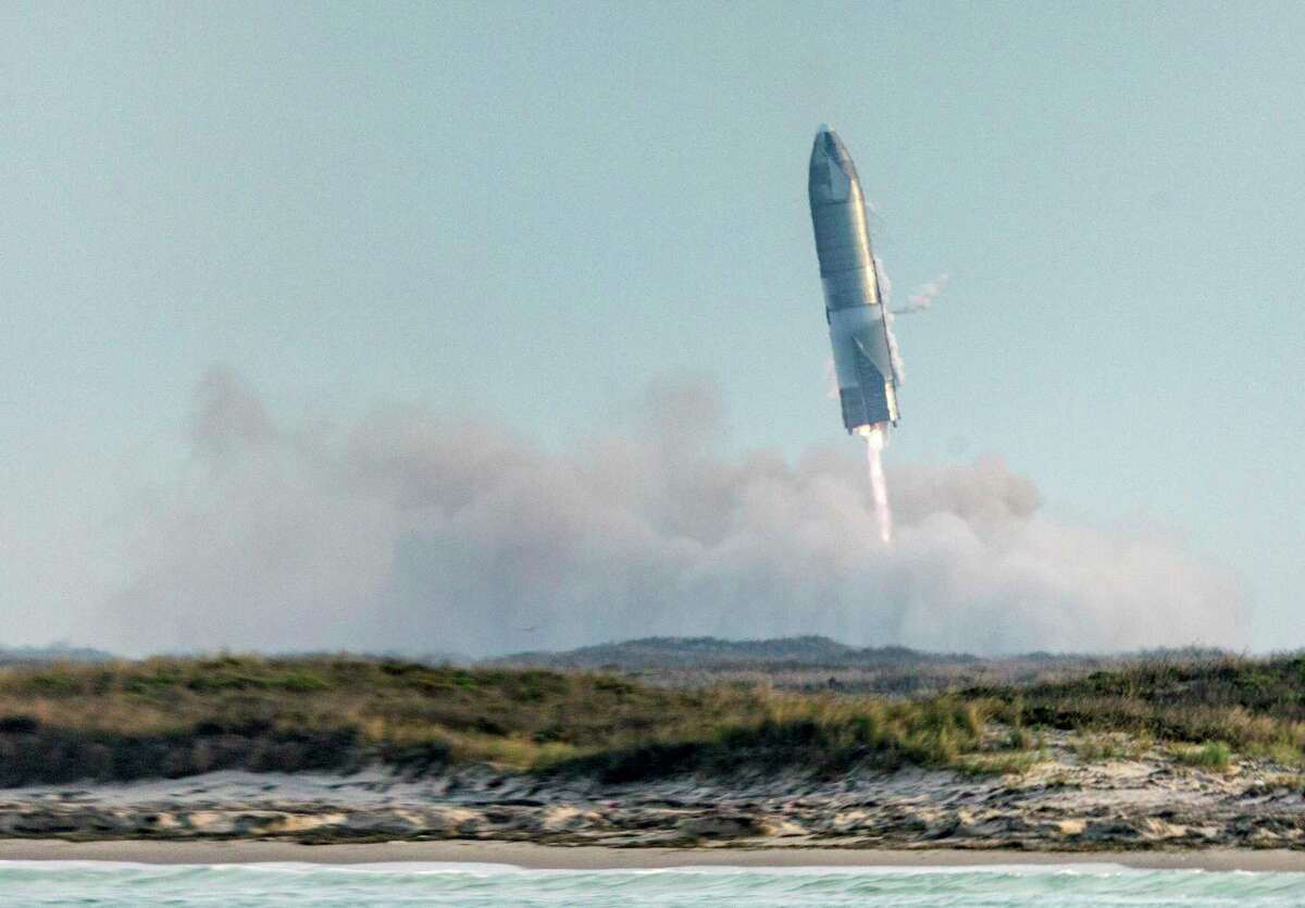 The SpaceX Starship SN10 lands Wednesday, March 3, 2021 in Boca Chica. The spacecraft prototype landed and stood at an angle before catching fire and exploding.