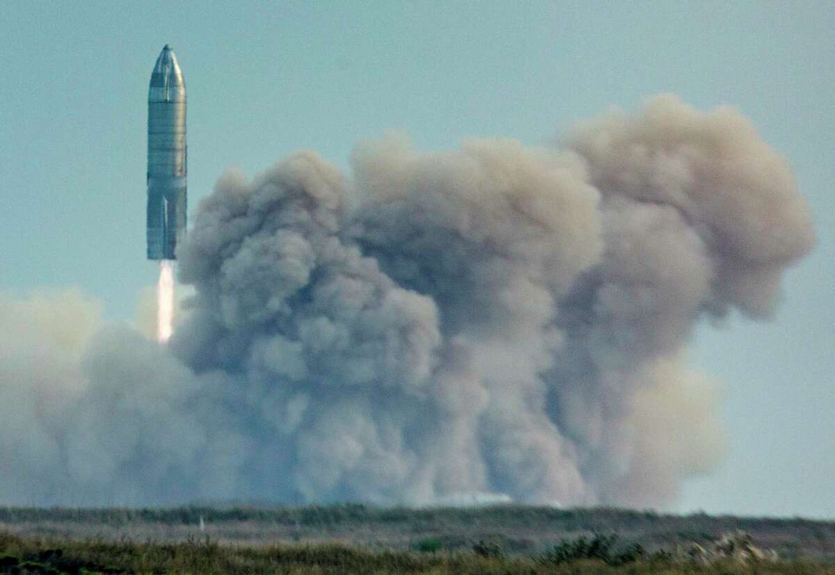 The SpaceX Starship SN10 takes off Wednesday, March 3, 2021 from Boca Chica. The spacecraft prototype landed and stood at an angle before catching fire and exploding.