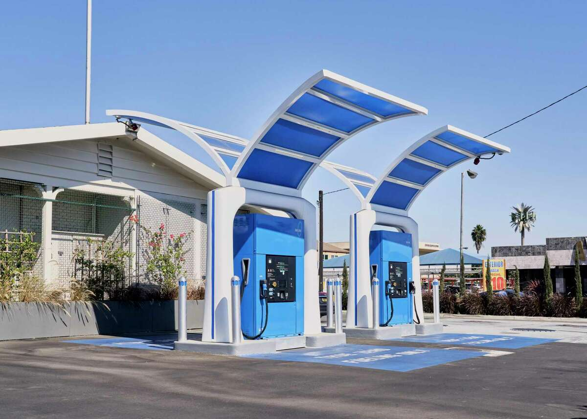 Hydrogen fuel pumps at a gas station, Fountain Valley, Calif., Oct. 14, 2020. The fuel could play an important role in fighting climate change, but it has been slow to gain traction because of high costs.