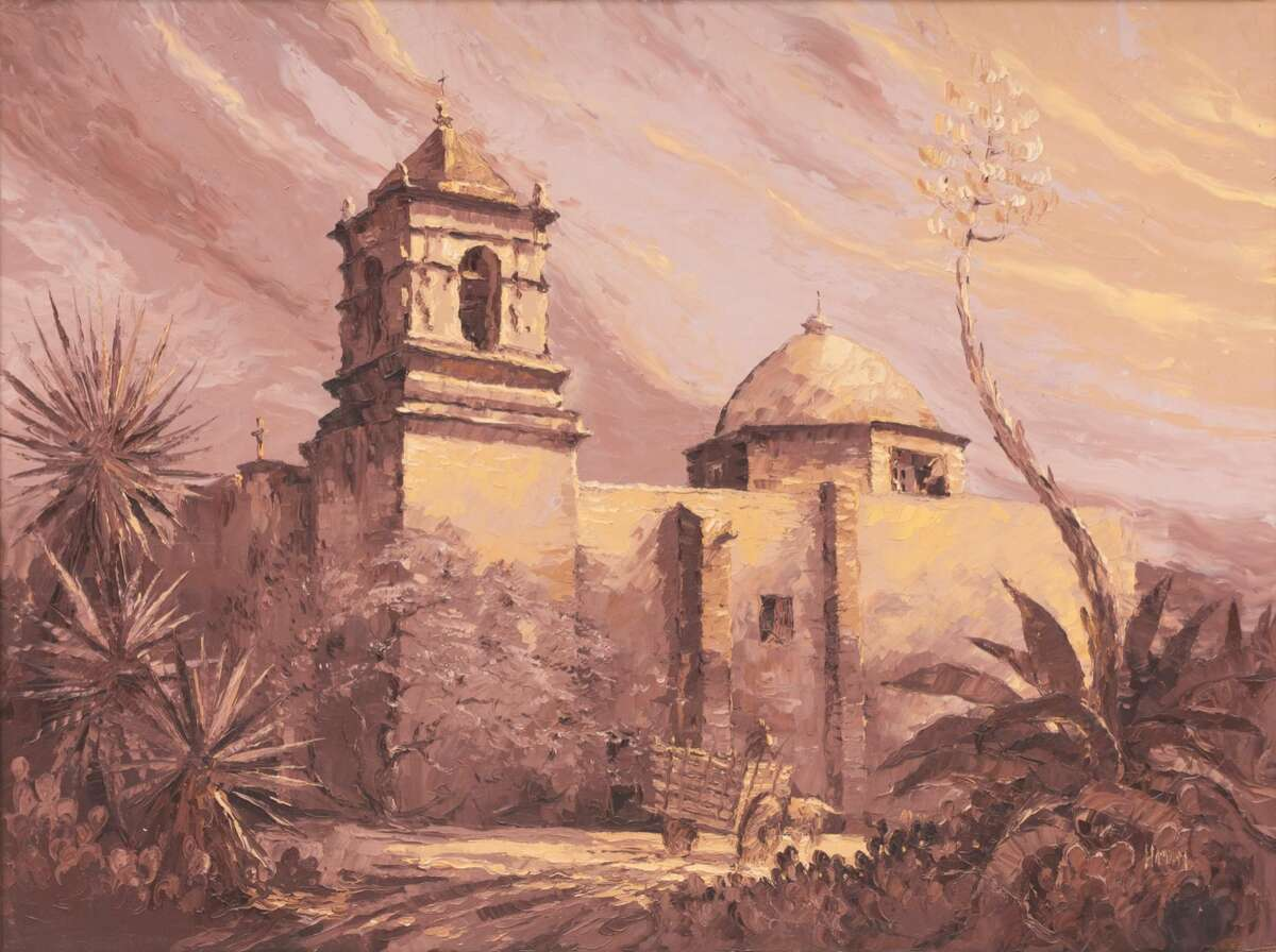 Robert Hamman (b. 1938), Mission San Jose, oil on canvas.