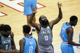 Brooklyn Nets guard James Harden (13) prepares to start the first quarter of a game between the Houston Rockets and Brooklyn Nets on Wednesday, March 3, 2021, at Toyota Center in Houston. The game is the first for Harden against Houston since leaving the team earlier this season.