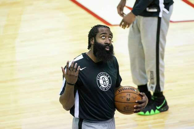 Brooklyn Nets guard James Harden (13) warms up before the first quarter of a game between the Houston Rockets and Brooklyn Nets on Wednesday, March 3, 2021, at Toyota Center in Houston. The game is the first for Harden against Houston since leaving the team earlier this season. Photo: Mark Mulligan, Staff Photographer / © 2021 Mark Mulligan / Houston Chronicle