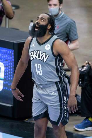 Brooklyn Nets guard James Harden (13) warms up right before the first quarter of a game between the Houston Rockets and Brooklyn Nets on Wednesday, March 3, 2021, at Toyota Center in Houston. The game is the first for Harden against Houston since leaving the team earlier this season. Photo: Mark Mulligan, Staff Photographer / © 2021 Mark Mulligan / Houston Chronicle
