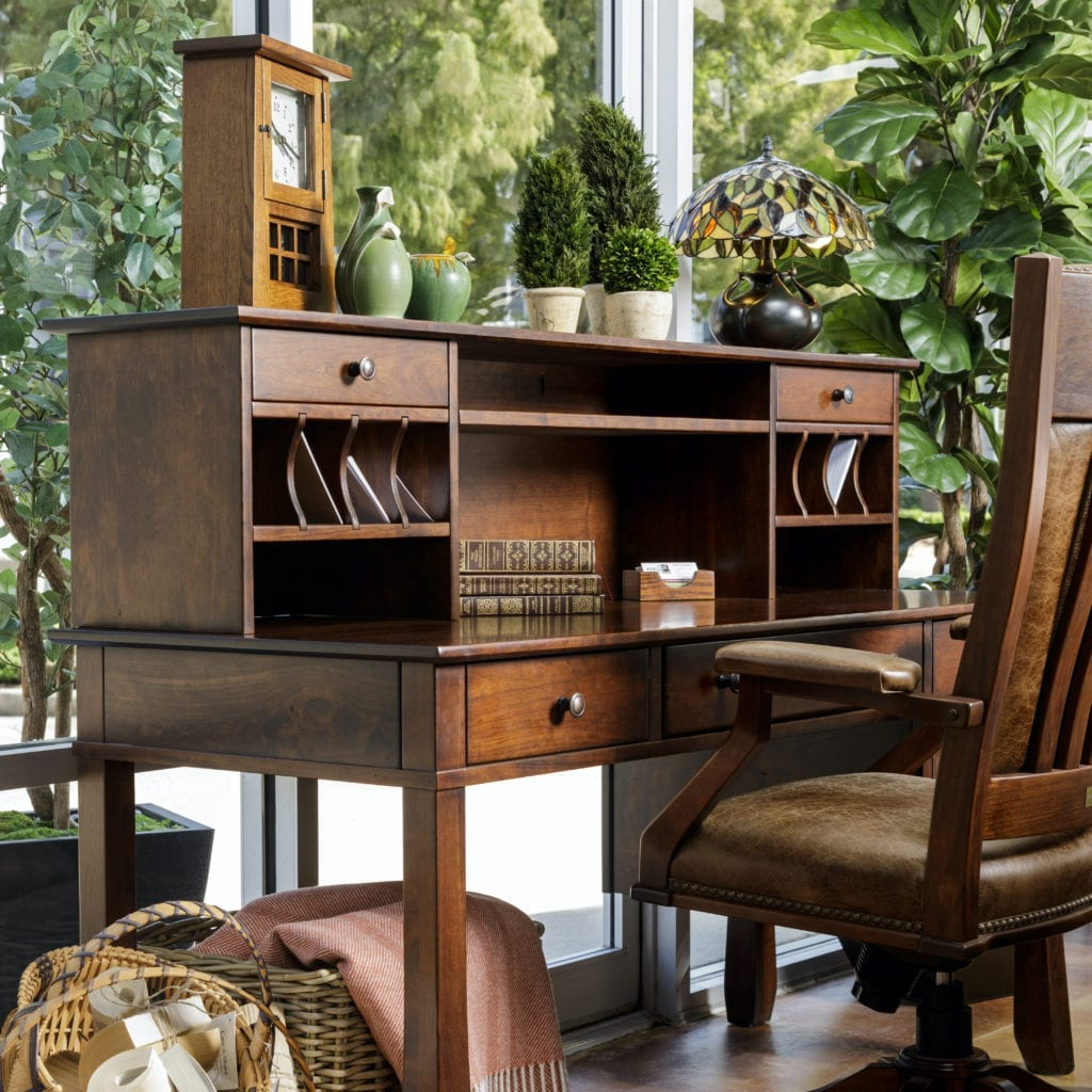 Desk with hutch and chair custom-crafted by The Amish Company.