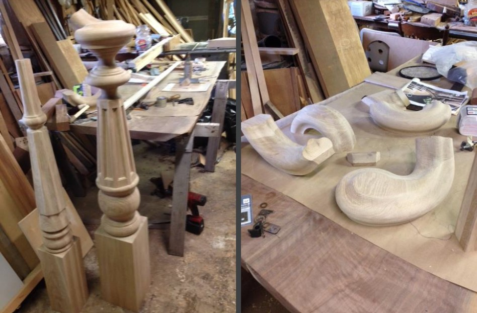 Stair parts illustrate the craftsmanship at Dan's Custom Woodworking.