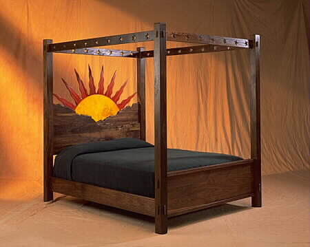 The Tequila Sunrise bed, a unique design brought to life by El Dorado Woodworks.