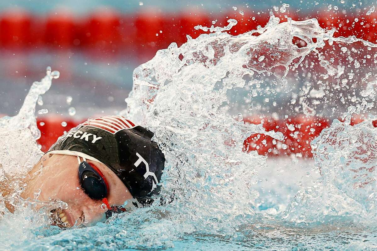 Katie Ledecky competes Wednesday in the women's 1500 meter freestyle on Day 1 of the TYR Pro Swim Series at San Antonio.