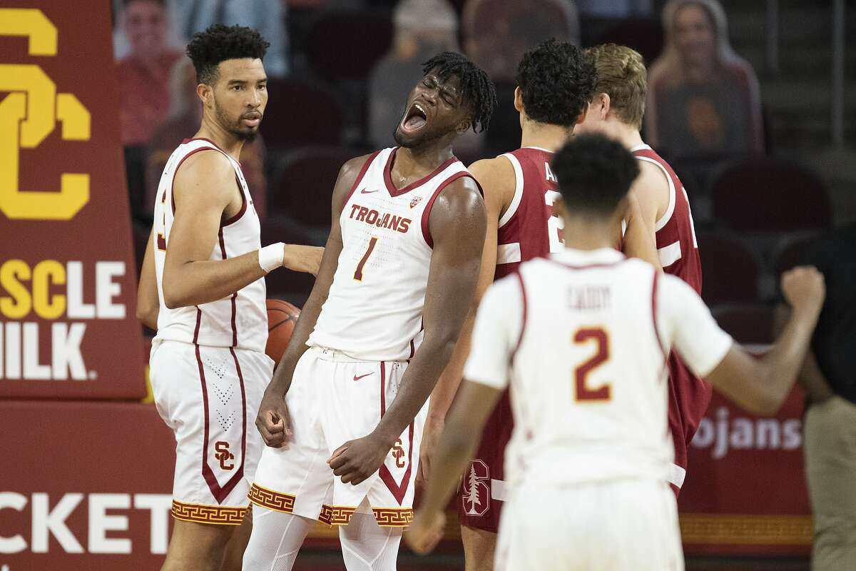 USC's Chevez Goodwin (1) celebrates after scoring as he was fouled during the Trojans' win over Stanford in Los Angeles.