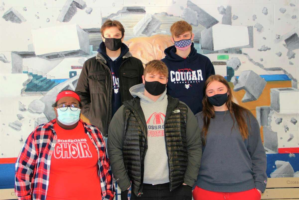 Crossroads Charter Academy recently announced students representing the school as members of its Snowcoming Court. Pictured from left to right are senior members of the court, Genesis James, Caleb Schweigert, Nick Brummeler, John Schultz and Kiara Atchison. Not pictured is Triston Murray. (Submitted photo)