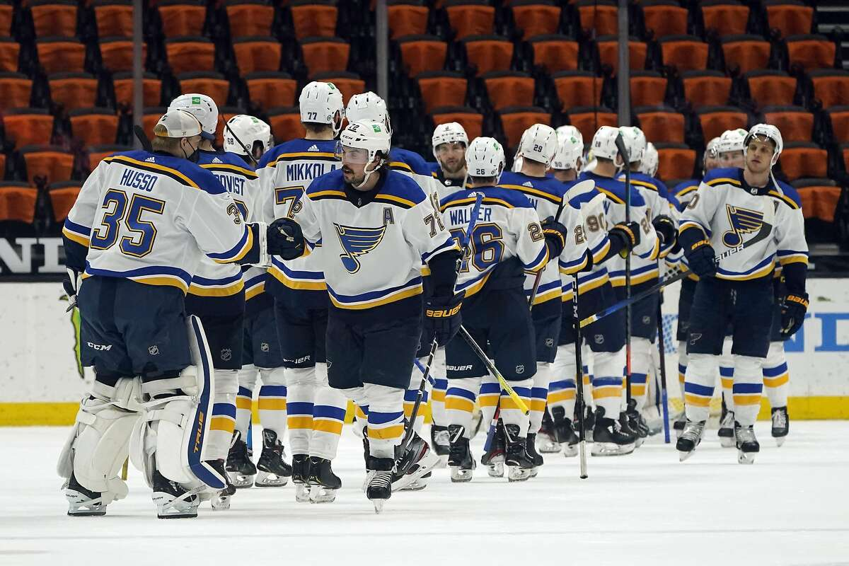 The St. Louis Blues celebrate a win over the Anaheim Ducks in an NHL hockey game Wednesday, March 3, 2021, in Anaheim, Calif. (AP Photo/Marcio Jose Sanchez)