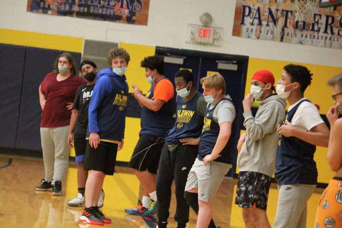 Baldwin basketball players get ready for a recent practice. (Star photo/John Raffel)