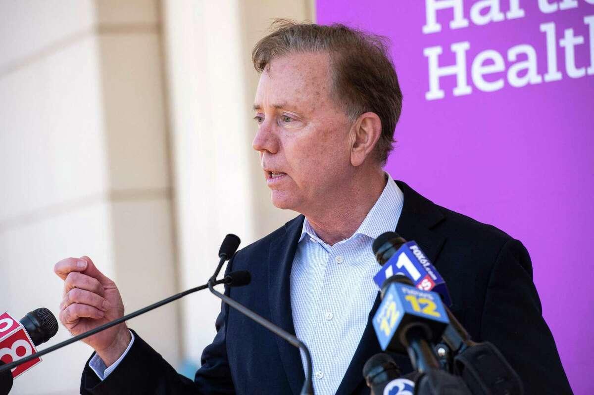 Gov. NedLamontspeaks at Hartford HealthCare St. Vincent's Medical Center in Bridgeport, Connecticut on February 26, 2021. (Photo by Joseph Prezioso / AFP)