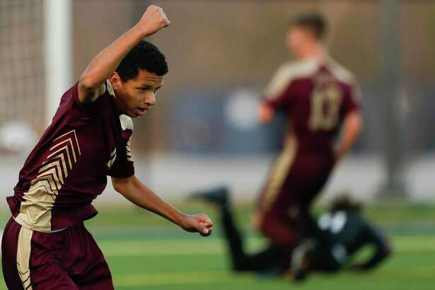 FILE - Magnolia West midfielder Jafet Ramirez (10) reacts after scoring a goal in the second period of a high school soccer match during the Kilt Cup at Woodforest Bank Stadium, Friday, Jan. 3, 2020, in Shenandoah.