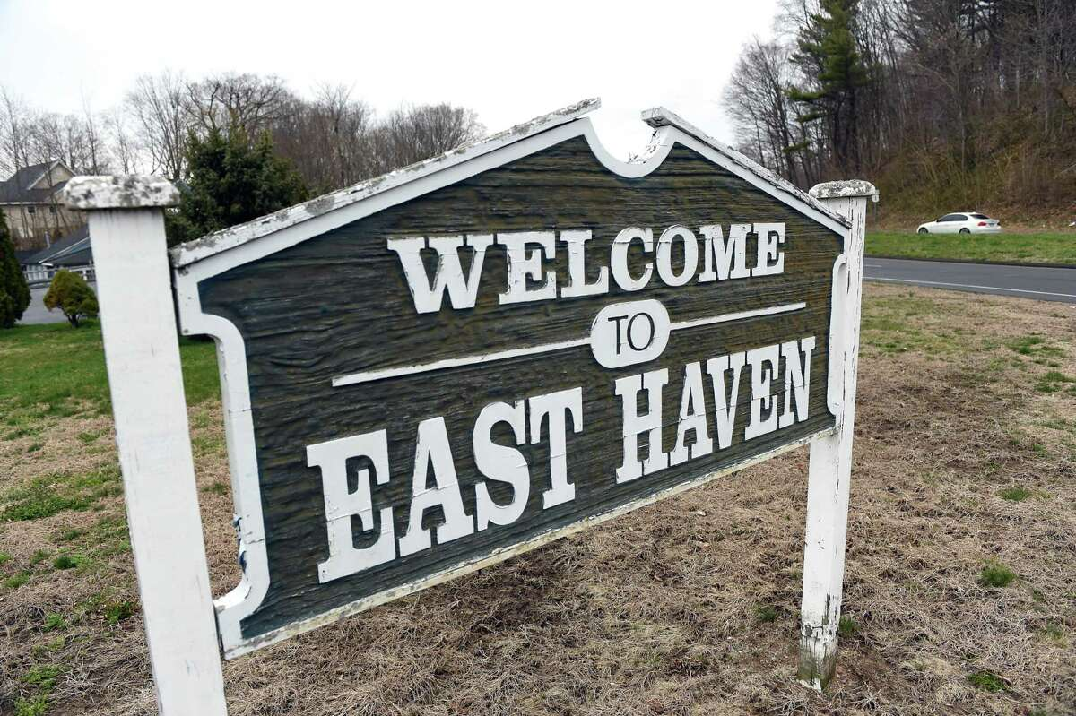 A welcome sign greets motorists traveling from Branford to East Haven on Saltonstall Parkway in East Haven.