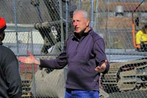 Shelton Mayor Mark Lauretti talks about plans to clean up and eventually develop the former Star Pin factory site along Canal Street in Shelton, Conn., on Friday Feb. 26, 2021. The factory was destroyed in a fire this past summer.