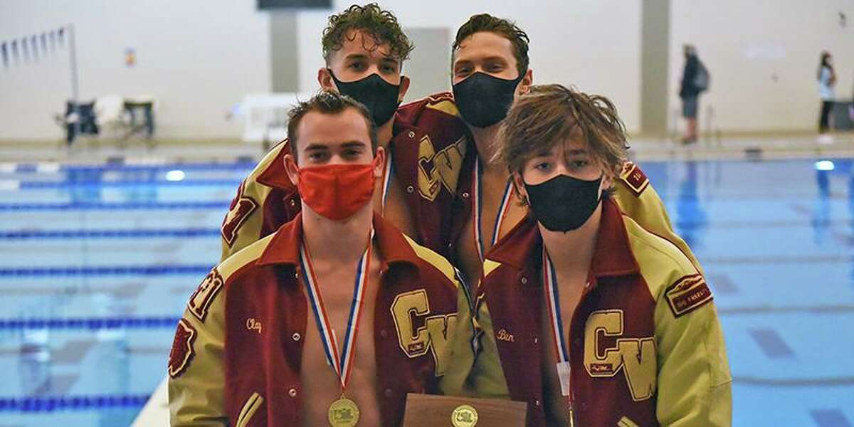 The 200-yard freestyle relay of Cy Woods' Luke DiMiceli, Munzer Kabbara, Clay Crawford and Benjamin Scholl finished first with a time of 1:22.09 at the UIL Swimming and Diving Class 6A State Meet Friday, Feb. 26 at the John Davis Natatorium in San Antonio, and the same team placed second (3:01.64) in the 400-yard freestyle relay.